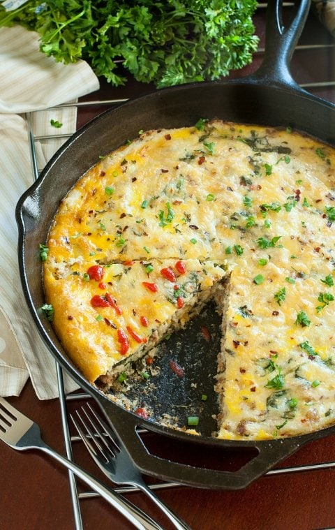 Skillet Sausage, Egg, and Cheese Grits Breakfast Bake