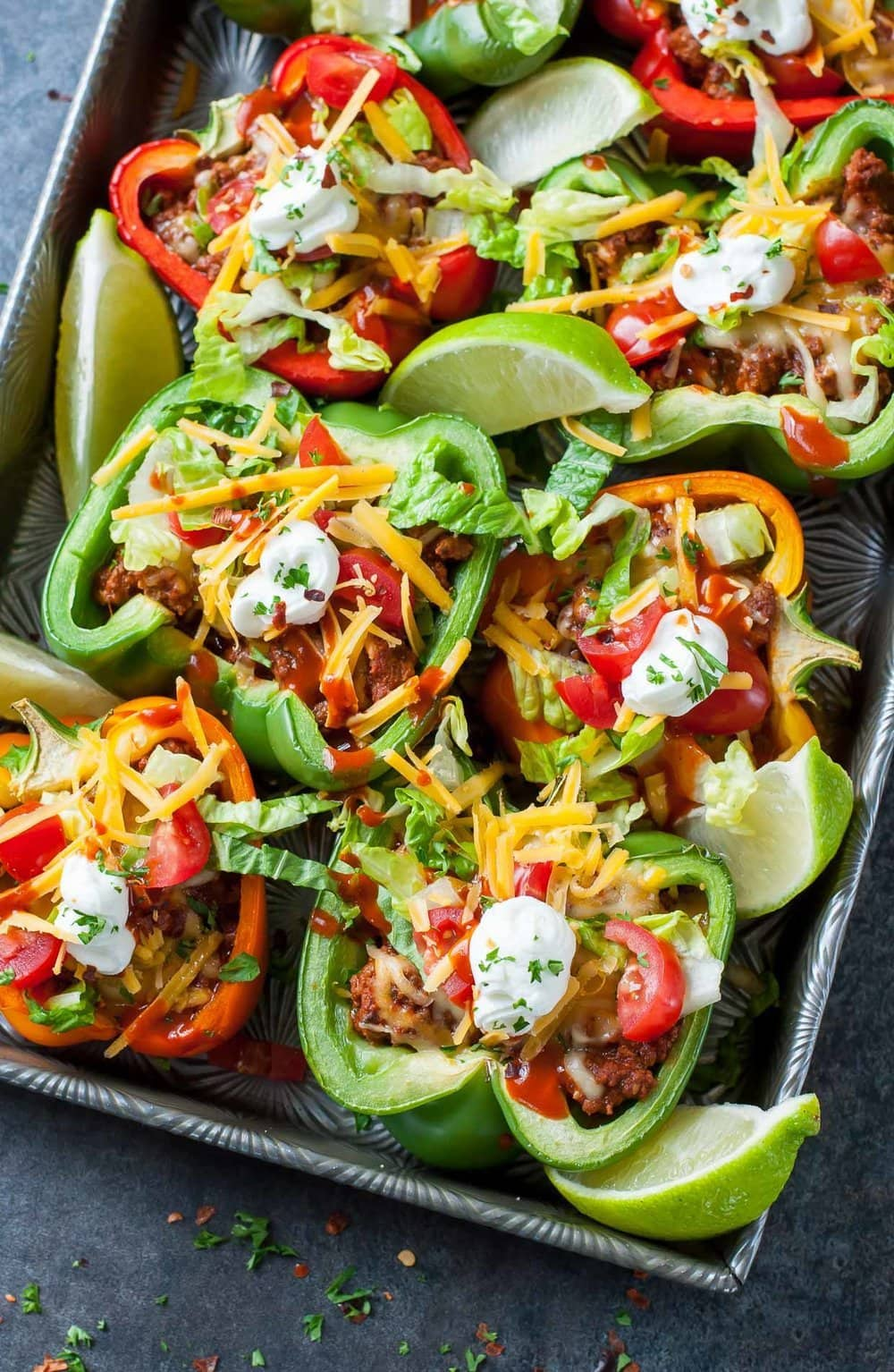 Stuffed Baked Bell Pepper Tacos | Peas & Crayons